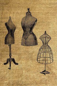 digital collage sheet Vintage Dress Forms Illustrations by Dress Form Mannequin, Vintage Mannequin, Vintage Paper, Vintage Sewing, Sewing Art, Looks Vintage, Digital Collage, Collage Sheet, Vintage Prints