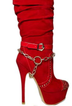 red velvet spike boot with chain