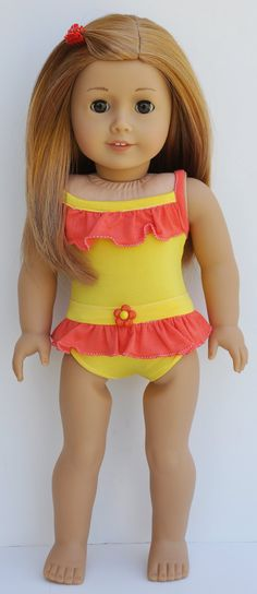 American Girl Bathing Suit and Coverup in Bright Orange and Yellow