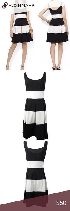 Lauren Ralph Lauren size 12 fit & flare dress Gorgeous Ralph Lauren fit & flare dress. Size 12. Navy and ivory stripes. Wore once for maybe 2 hours so like new condition. Lauren Ralph Lauren Dresses Midi