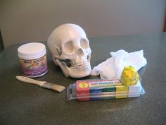 Turn your store bought skull into a mold to make more - could also be adapted for other body parts and bones. Halloween Skeletons, Halloween Skull, Halloween Crafts, Halloween Party, Halloween Decorations, Outdoor Decorations, Halloween 2018, Halloween Costumes, Prop Making