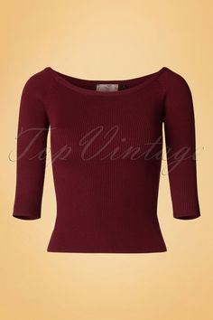The50s Wickedly Wonderful Top is wonderfully beautiful!  Create the most stunning looks with this top; from an office look, everyday look to a classy look! She's the perfect top for all your retro outfits with her boat neck and 3/4 sleeves. Made from a soft and stretchy, wine red fabric featuring a ribbed structure that's super comfy to wear. Trousers or skirts everything will lookwickedly wonderful with this top!   Boat neck 3/4 sleeves Long en...