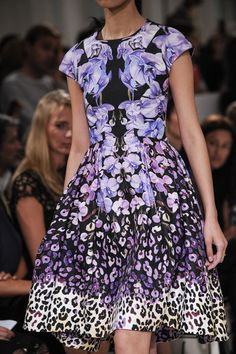 Mirror Print Dress - purple floral & leopard, symmetrical print pattern fashion // Temperley London