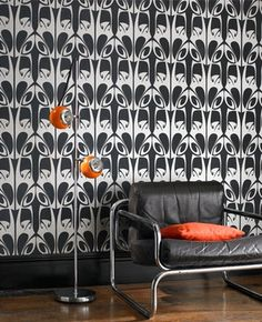 art nouveau inspired black and silver wallpaper by barbara hulanicki at graham and brown #artnouveau #wallpaper