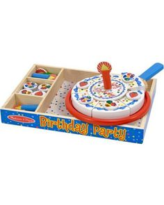 This fun birthday cake toy allows kids to host a pretend party--and learn about celebrating, being happy for others when they receive gifts, and sharing the spotlight.