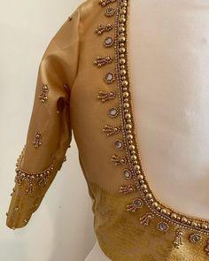 Wedding Saree Blouse Designs, Simple Blouse Designs, Embroidery Neck Designs, Silk Saree Blouse Designs, Blouse Neck Designs, Embroidery Stitches, Maggam Work Designs, Hand Work Blouse Design, India