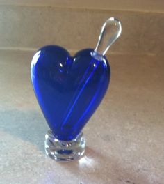 Noslo Art Glass Heart Shaped Cobalt Blue Heart Perfume Bottle with Glass Dauber