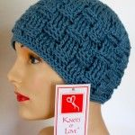 Basketweave cap. Feel free to use these patterns for charity.  If you are using these, or any Knots of Love patterns for any other purpose, a donation to Knots of Love would be greatly appreciated!  Thank you! 2 dozen hat patterns at this web site.
