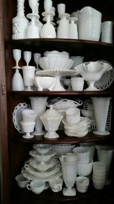 Milk glass. Or Antique, Antique Dishes, Vintage Dishes, Vintage China, Armoire, Antique Glassware, Fenton Glass, August 12, White Dishes