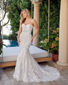 Style 2438 Angelina | Strapless Fit and Flare Lace Wedding Dress by Casablanca Bridal | Casablanca Bridal Wedding Dress Pictures, Wedding Dress Styles, Bridal Dresses, Bridesmaid Dresses, Jamaican Wedding, Wedding Dress Shopping, Groom Dress, Bridal Boutique, Bridal Style