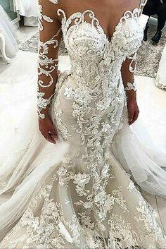 Scoop Wedding Dress, Long Sleeve Bridal Dresses, Western Wedding Dresses, Wedding Dress Trends, Sexy Wedding Dresses, Long Sleeve Wedding, Cheap Wedding Dress, Elegant Dresses, Sexy Dresses