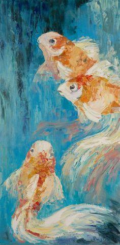 "Saatchi Art Artist Tanya Vasilenko; Painting, ""Golden Fish"" 100x50 #art  My artworks sized above 100 cm. More at: https://www.facebook.com/artisttanyavasilenko/photos_stream?tab=photos_albums"