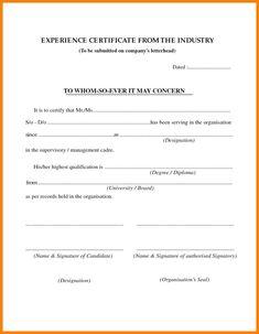Hotel Cook Experience Certificate Sample Cook Certificate In 2019