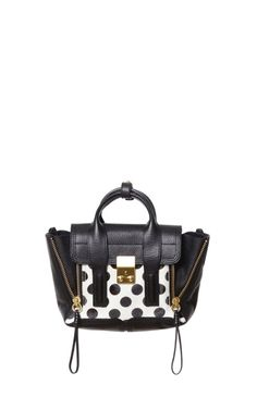 White And Black Polka Dot Pashli Mini Satchel by 3.1 Phillip Lim for Preorder on Moda Operandi