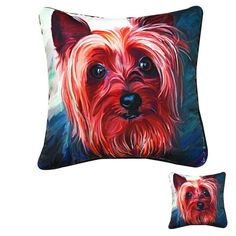 Set of 2 Yorkie Style Decorative Pillows