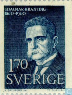 Stamps - Sweden [SWE] - Hjalmar Branting 1960 Nobel Prize, Stamp Collecting, Postage Stamps, Famous People, Old Things, Vikings, Mixed Media, Coins, Politics