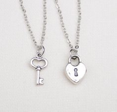 2 best friend lock and key necklaces, set of two, key to my heart necklace, friendship necklaces,gift for couple,his and hers jewelry,sister on Etsy, $20.00
