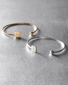 Sarah Chloe Square Initial Bracelet. I'm soooo into bracelets these days. This V is perfect for me.