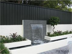 Modern Garden Design, Backyard Garden Design, Garden Landscape Design, Outdoor Wall Fountains, Diy Garden Fountains, Outdoor Water Features, Water Features In The Garden, Wall Water Features, Water Wall Fountain