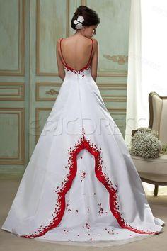 Amazing A-line Embroidery Spaghetti Straps Plus Size Wedding Dress