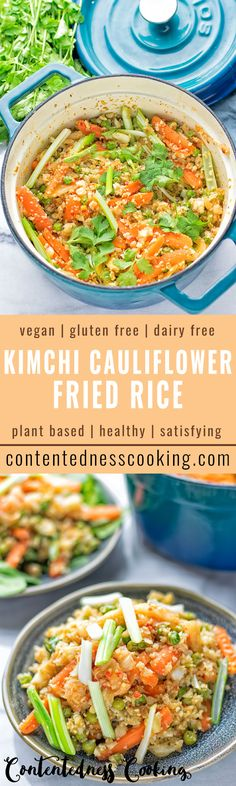 This Kimchi Cauliflower Fried Rice is super healthy, satisfying and full of flavor. It's entirely vegan, gluten free and a great take on classic fried rice. Makes an amazing dinner, lunch or light meal.