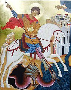 Icona custodita a Reggio Calabria Religious Icons, Religious Images, Religious Art, Perseus And Medusa, Die A, Saint George And The Dragon, Capadocia, Byzantine Icons, Art Icon