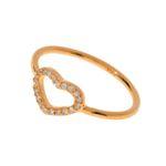 Leaf Herz Ring, rosé vergoldet, Zirkonia