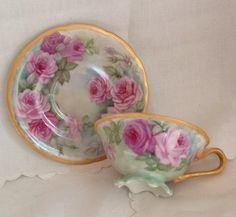 limoges t & v handpainted roses gold gild footed tea cup and saucer #limogestv