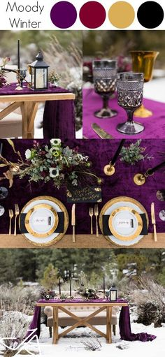 Are you getting married during one of the winter months? If so, you may be searching for inspiration for your wedding to ensure that it turns out as perfect as possible. There are some great winter wedding reception ideas to consider. These ideas could. Purple Winter Weddings, Winter Wedding Colors, Winter Wedding Inspiration, Purple Color Schemes, Wedding Color Schemes, Wedding Themes, Wedding Designs, Wedding Ideas, Event Themes
