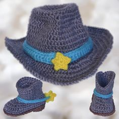 Crochet baby cowboy set for photo prop on etsy.com/shop/BoutiqueofVirtuosity