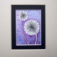 Purple dandelion type things, watercolour ACEO
