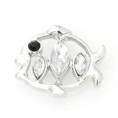 1 PC 18MM Fish Ocean Animal White Rhinestone Chunk Pop Charm Zinc Silver Candy Snap Popper ds5020 CC1204 Diameter Size: 18MM Material: Zinc Alloy and rhinestones