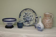 6 pieces of china including French Foley potteries Staffordshire pitcher, blue and white Kronborg castle, Royal Copenhagen, 3 blue and white delft pieces, Copeland Spode blue and white bowl
