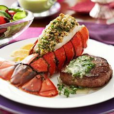 For an intimate dinner with close friends, serve this stunning dinner of tenderloin steaks and lobster tail. Your guests will think they are dining at a fine restaurant when you serve them this surf and turf dish. —Taste of Home Test Kitchen Lobster Recipes, Seafood Recipes, Cooking Recipes, Surf And Turf, Seafood Dishes, Fish And Seafood, Lobster Tails, Rock Lobster, Lobster Shack