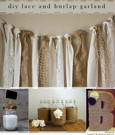burlap garland for bridal party table and entry way table. also mason jars wrapped in jute for the centerpieces, and letters for entry way table