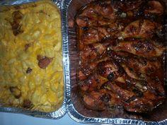 Kielbasa mac n cheese with maple glazed chicken