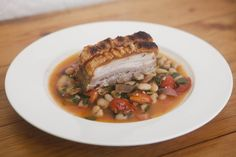 Chili Orange Sage Pork Belly with Braised Peaches and White Beans