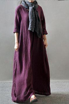 Purple Black Orange Maxi Linen Plus Size Women Dresses Q3102A -  FantasyLinen Casual Gowns e528d0d55830