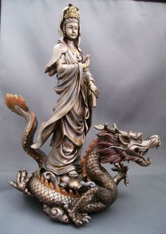 Goddess of Mercy Kwan Yin on Dragon Statue. Buddha Art, Dragon Statue, Taoism, Guanyin, Gods And Goddesses, Chinese Art, Deities, Chinoiserie, Asian Art