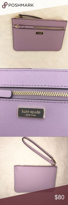 Kate Spade purple pastel clutch ❌🆕❌ Selling this cute purple Kate Spade hand clutch. I've had this clutch for a while but haven't been able to use it.This color is perfect for this spring season that it's a must have. This comes with compartments for cards that it's the perfect little clutch. This clutch fits a regular sized iPhone, not an iPhone + unless it's without the case. This purse will be sent with the care card & price tag as shown in the picture above. This Debuted on 03-12-2017…