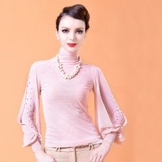 New Type Puff Sleeve High Neck Rhinestone Fashion Tees | Stuff I Need