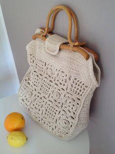 70s Crochet Birkin Vibe Handwoven Bag Vintage Macrame Jane