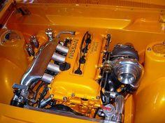 Datsun 1600 clean engine bay SR20.
