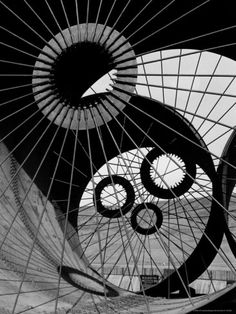 Support Struts Inside Section of a Giant Pipe Used to Divert Flow of Missouri River By: Margaret Bourke-White Famous Photographers, Documentary Photographers, Margaret Bourke White, Life Poster, Missouri River, Black N White Images, White Aesthetic, Abstract Photography, The Struts
