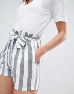 asos striped linen short