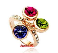 18k Rose Gold Plated Women Cocktail Party Ring Made With Swarovski Crystal R191