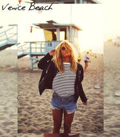 Angelica Blick / leather jacket / stripe t shirt / denim shorts