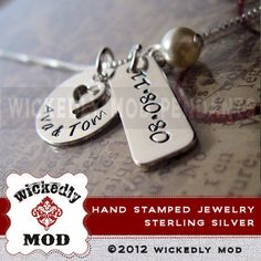 Personalized Hand Stamped Necklace  by wickedlymodpendants on Etsy, $58.00