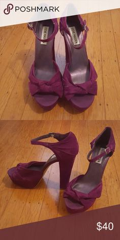 Steve Madden Suede platform heels Beautiful purple berry colored suede platform heels by Steve Madden. Great 70s retro glam style. Leather upper. Man made sole. Steve Madden Shoes Platforms