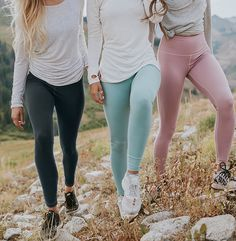 the softest leggings you'll ever wear! introducing our comfortable, slimming, high waisted {Go Soft Leggings in Granite, Millcreek Blue & Rosewood} - also pictured are our {Oatmeal, Ivory & Oatmeal Go Long Crews}   @albionfit